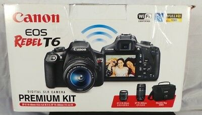 Canon EOS Rebel T6 DSLR Camera w/ 18-55mm & 75-300mm Lenses Kit