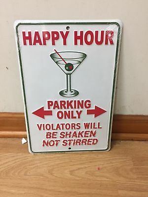 Happy Hour Parking Only Martini Metal Tin Sign - NEW