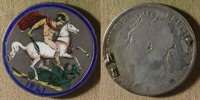 Great Britain: 1821 1 Crown Enameled Coin (late 1800's) IR8881
