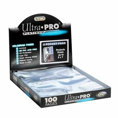 50 Ultra Pro Platinum Hologram 2-Pocket Page for 5x7 Photos / Postcards