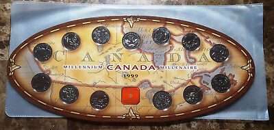 Canada 1999 Millennium Oval 13 Coin Commemorative Set With Token!!