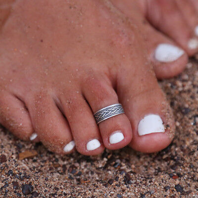 Elegant Womens Lady 925 Sterling Silver Toe Ring Foot Adjustable Beach Jewelry
