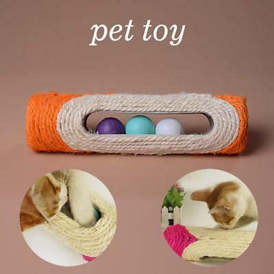 Pet Cat Kitten Toy Long Rolling Sisal Scratching Post Toys With 3 Roller Ball A>
