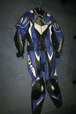 Mens Richa 2 Piece Blue Black Grey Leather Motorcycle Suit