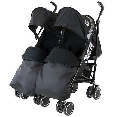 Zeta Citi TWIN - Black With 2 Black Footmuff And Rain Cover Included