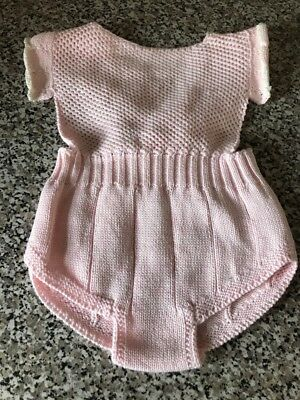 Knitted Baby Romper. Pink. 0/6 Months. New.