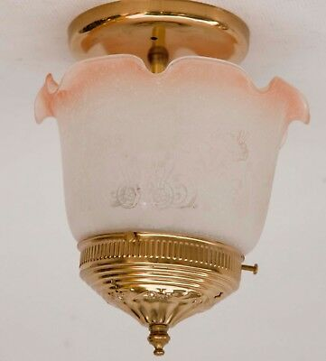 Vintage 3 lite Victorian Frosted Glass and brass metal Ceiling Light Fixture