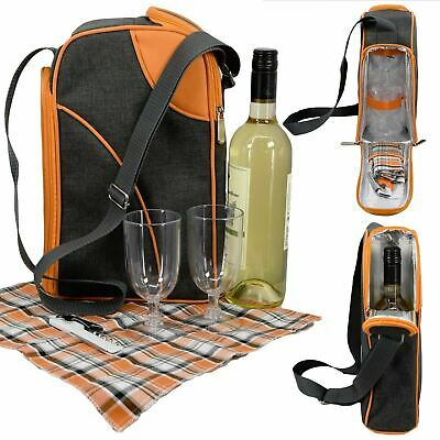 GEEZY 2 Person Insulated Wine Bottle Cooler Bag Picnic Cool Drinks Glass Carrier