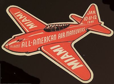 Vintage 1941 ~ All American Air Maneuvers Air Races  Decal Miami Fl
