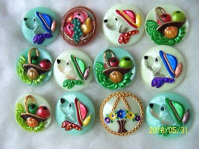 REDUCED  CZECH GLASS BUTTONS (12 PCS) (22mm)  COLLECTABLES  OLD STOCK    024