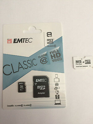 8 GB MicroSD Emtec Classic Class 10 HD plus ProDuo Dual Adapter für Sony PSP