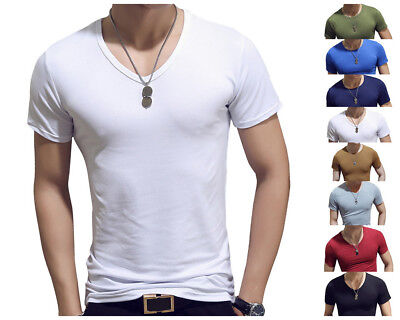 Mens Slim Base Short Sleeve T-shirt Solid Color Crew Neck Casual Bottom Tee Tops