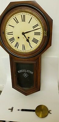 Large Antique Ansonia Regulator Wall Clock For Parts / Restoration Collect Only