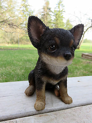 """Chihuahua Dog Puppy Figurine Statue Resin Pet 6.5"""" H Canine  Black Brown"""