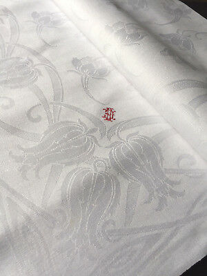 Leinen Damast Tafeltuch - Jugendstil -Tischdecke -165/130 cm, Antique Tablecloth