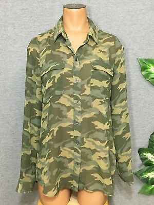 Old Navy Sheer Camo Button Down Blouse S Green Camouflage Top Womens