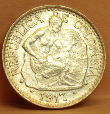 1917 Colombia 5 Pesos Gold Coin Cinco Pesos  Colombian Stone Cutter #C94