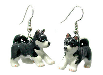 New NORTHERN ROSE Porcelain Earrings SIBERIAN HUSKY DOG Figurine Figure Jewelry