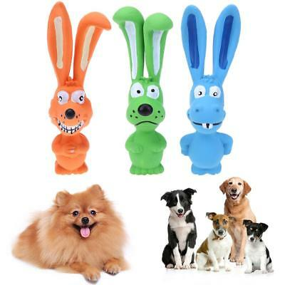 Rabbit Latex Puppy Pet Cat Dog Chew Toy Bite Squeaker Squeaky Sound Play Toys
