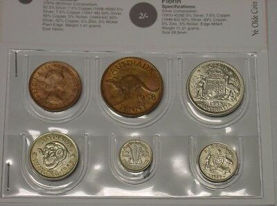 1958 Australian coin set in wallet. With lustre, better grades. Great 60th gift.