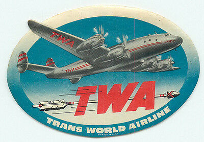 Twa Trans World Airlines Vintage Constellation Airline Aviation Label