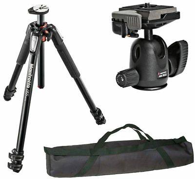 Manfrotto MT055XPRO3 Aluminium Tripod kit + Ball Head + QR Plate and Case Bundle