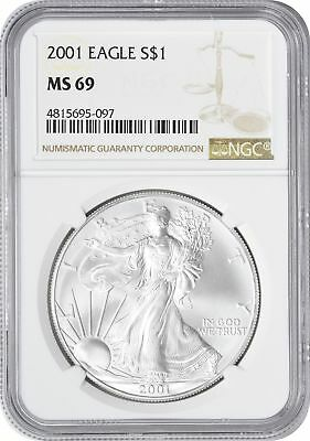 2001 American Silver Eagle Dollar MS69 NGC