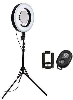 Stellar LED Diva II Ring Light (Black) + Wireless BT Remote & Smartphone Adapter