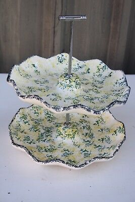 Lovely Vintage High Tea 2 Tiered Cake Stand - Motley Yellow/green