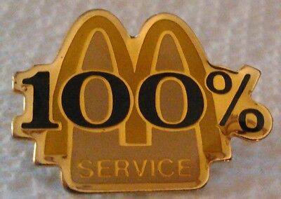 McDonald's collectible lapel hat employee pin 100% Service golden arches