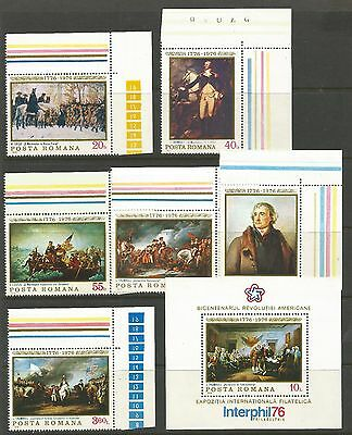 Romania 1976,american Bicentenary & Interphil'76 (7) ,s.g 4190-Ms4196, Mnh**