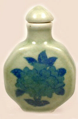 19thC Antique China Blue + Green Ming Style Porcelain Floral Motif Snuff Bottle