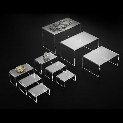 Mecor 9 Clear Acrylic Risers Jewelry Display Stands For Exhibition & Collection