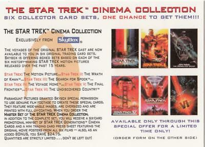 "Star Trek Skybox 1995 promo card for the ""Cinema Collection"" card set"