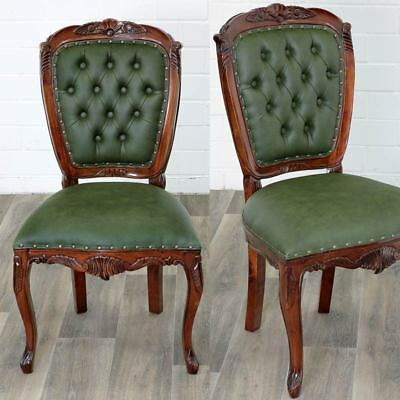 MAHAGONI CHESTERFIELD DINING CHAIR racing-green, MAHAGONI ESSTISCHSTUHL - massiv