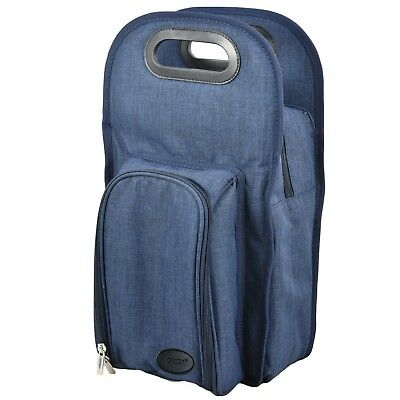 GEEZY 2 Person Denim Wine Bottle Cooler Insulated Picnic Bag Cool Drinks Carrier