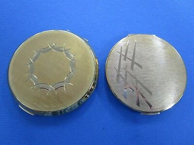 2 x   Vintage Ladies , Gold Tone Compacts. 2 x Stratton.