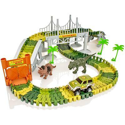 Dinosaur Dino World Childrens Flexible Race Car Track Construction Play-Set Toy