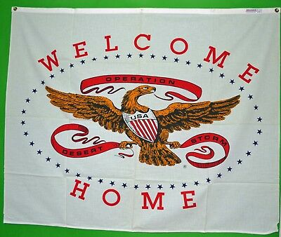 OPERATION DESERT STORM WELCOME HOME - Original Banner flag - New Old Stock