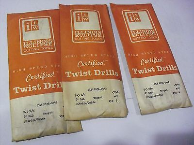 """EIGHTEEN !! Illinois Eclipse   9.5mm x 8"""" HSS Drill Bits Made In USA"""