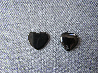 Vintage flat & curved heart shaped real black stone cabochon bead jewelry making