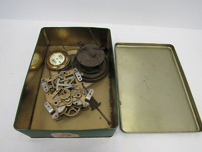 Miscellaneous Vintage Clock Parts Spare and Repair w/ Tin - BST