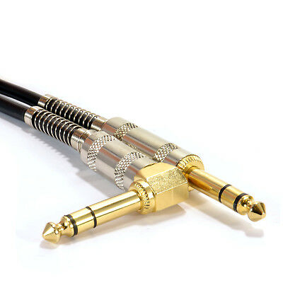 GOLD Right Angle Stereo/Balanced Jack 6.35mm Plugs Cable Lead