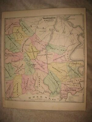 Antique 1876 Hanover Township & Washington County In 1831 Pennsylvania Map Rare