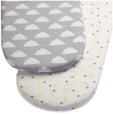 Snuz MOSES BASKET/PRAM 2 PACK FITTED SHEETS – CLOUD NINE Baby Bedding BN