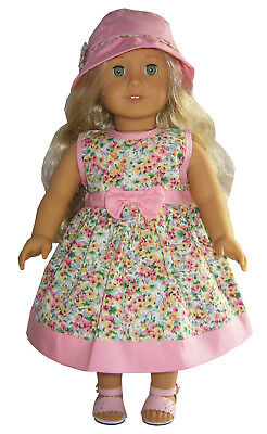 "Doll Clothes fits 18"" American Girl Pink Trimmed Floral Dress & Matching Hat"