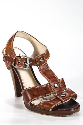97505f50af2 THE LEATHER COLLECTION Brown Block Heel Sandals Women's Size 7.5 ...