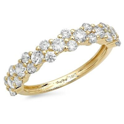 1 CT Cluster RD Solitaire Promise Bridal Engagement Wedding Band 14K Yellow Gold