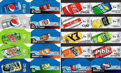 20 Mixed Pepsi Coke Small 12oz Can Vending Labels-Vendo Dixie-Narco Soda Machine