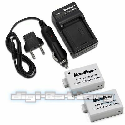 2x BATTERIES + CHARGER Pack for CANON LP-E5 EOS 450D EOS 500D Camera Battery